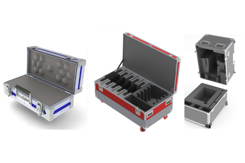 A variety of custom shipping cases